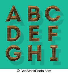 madeira, polygonal, parte, 1, alfabeto