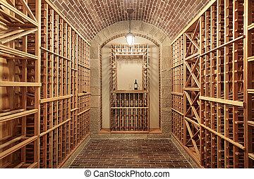 madeira, porão vinho, com, tijolo, teto