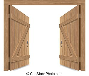 madeira, portão, antigas, maciço, aberta