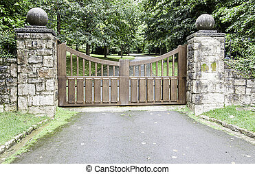 madeira, portão, em, um, parque