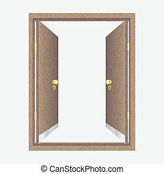 madeira, porta aberta, com, quadro