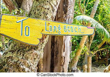 madeira, praia, longo, sinal