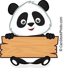 madeira, prancha, segurando, panda