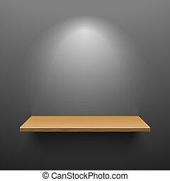 madeira, prateleira, ligado, escuro, parede