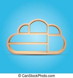 madeira, prateleira, nuvem, forma, eps10, vetorial,...