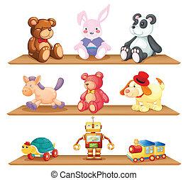 madeira, prateleiras, com, diferente, brinquedos
