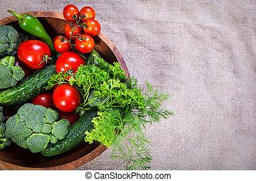madeira, prato, legumes, cópia, espaço
