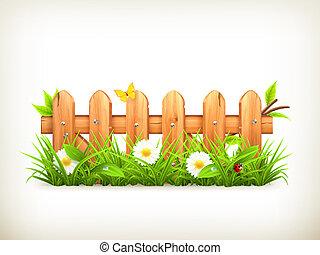 madeira, primavera, capim, cerca