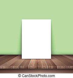 madeira, quadro, em branco, tabela