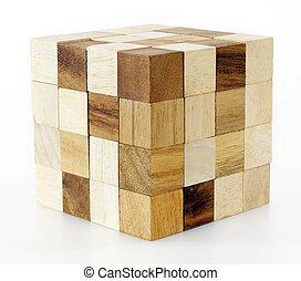madeira, quebra-cabeça, jogo, bloco