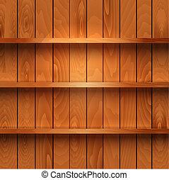 madeira, realístico, prateleiras