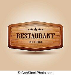 madeira, realístico, vetorial, signboard, ilustração
