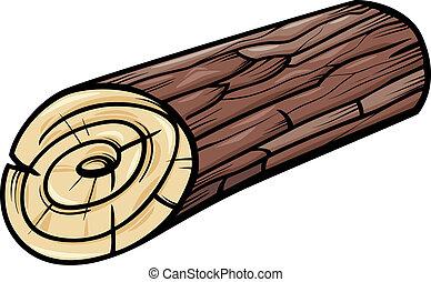 madeira, registro, ou, toco, caricatura, corte arte