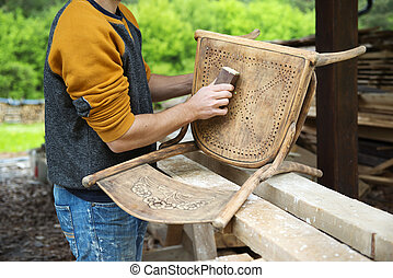 madeira, restauração, mobília