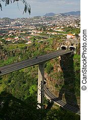 Madeira Roadway - Elevated roadway cut through the mountain ...
