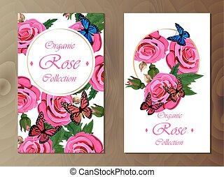 madeira, rosa, cartão, fundo