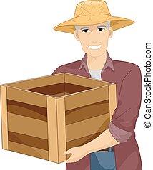 madeira, sênior, crate, ilustração, homem