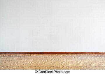 madeira, sala, vazio, chão