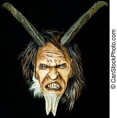 madeira, satã, mal, máscara, com, chifres, e, pele, barba,...