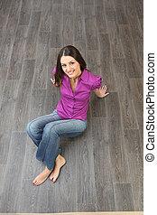 madeira, sentando, mulher, chão