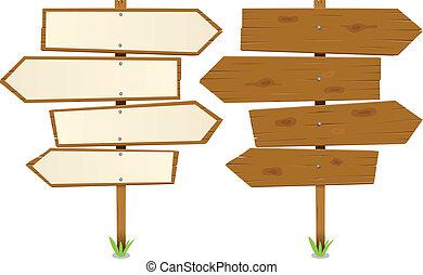 madeira, setas, sinal