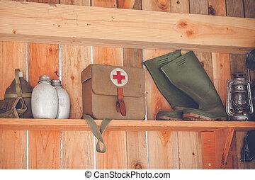 madeira, shelfe, retro, equipamento, surival