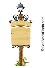 madeira, signboard, decoração, forjado, poste, lanterna