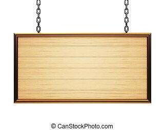 madeira, signboard, retângulo, corrente