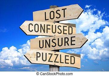madeira, signpost, conceito, -, perdido
