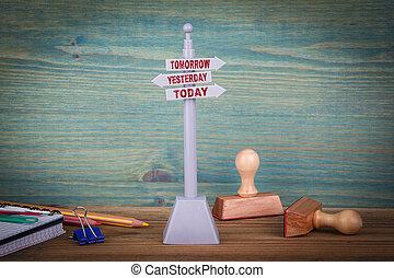 madeira, signpost, ontem, tabela, today., amanhã