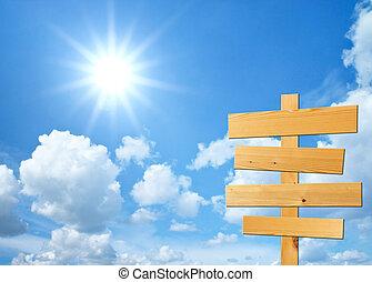 madeira, sinais, para, seu, texto, com, céu, fundo