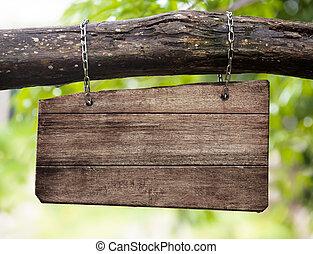 madeira, sinal branco, tábua, ramo, penduradas