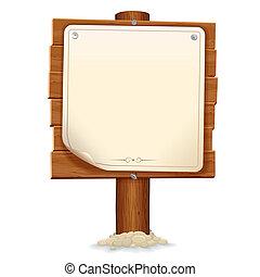 madeira, sinal, com, papel, scroll., vetorial, imagem