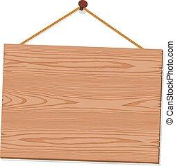 madeira, sinal dependurado, em branco
