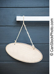 madeira, sinal dependurado, porta, em branco