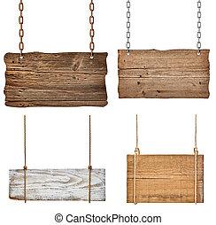 madeira, sinal, fundo, mensagem, corda, corrente, penduradas