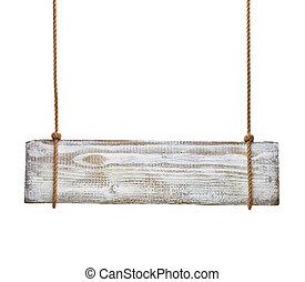 madeira, sinal, fundo, mensagem, corda, penduradas