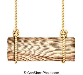 madeira, sinal, isolado, ligado, um, fundo branco