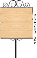 madeira, sinal, para, anunciando, com, metal, elementos