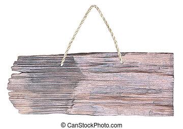 madeira, sinal, pendurar, um, corda, isolado, branco, fundo