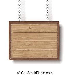 madeira, sinal, pendurar, um, corrente