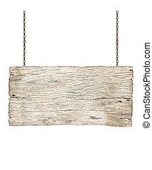 madeira, sinal, pendurar, um, corrente, isolado, branco, fundo