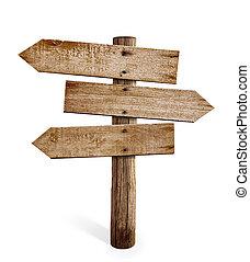 madeira, sinal seta, poste, ou, estrada, signpost, isolado