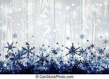 madeira, snowflakes., inverno, fundo