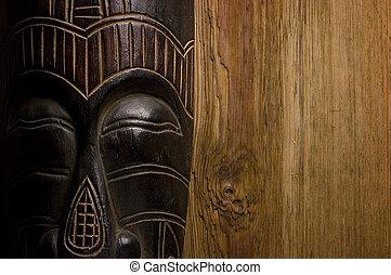 madeira, sobre, máscara, fundo, africano