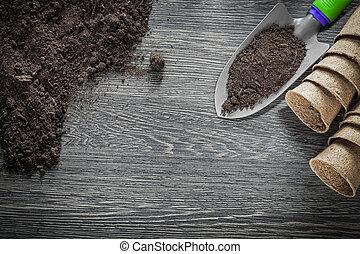 madeira, solo, turfa, potes, mão, tábua, pá