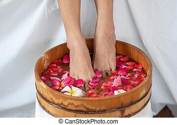 madeira, spa, pés, salão, tigela, femininas, flores