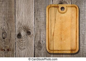 madeira, tábua cortante, fundo