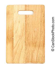 madeira, tábua cortante, isolado, branco, fundo