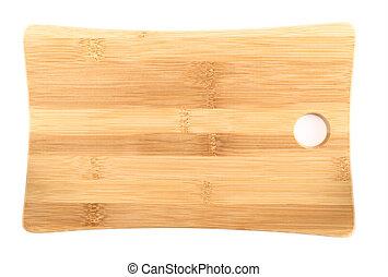 madeira, tábua cortante, sobre, fundo branco